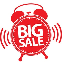 Big sale alarm clock red label vector