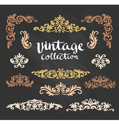 Vintage ornamental gold calligraphic designs set vector