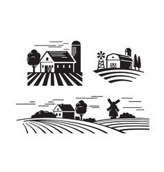 Flat farm icons vector