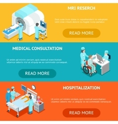 Healthcare flat 3d isometric banners mri medical vector