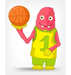 Funny monster basketball vector