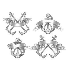 anchor with ribbon set vector image
