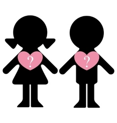 Boy and girl with questions in hearts vector image vector image