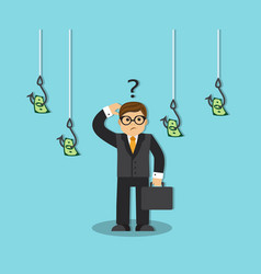 Businessman and money on the hook vector
