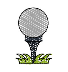 Color crayon stripe cartoon golf ball on tee in vector