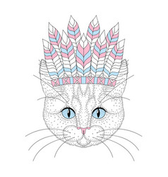 cute cat portrait with war bonnet on head vector image