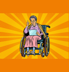 elderly woman disabled person in a wheelchair vector image vector image