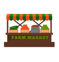 farm market fruit or vegetable vendor booth stall vector image
