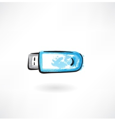 Flash drive grunge icon vector