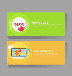 food blog and online recipe banner vector image vector image