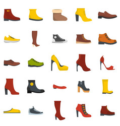 footwear shoes icon set isolated flat style vector image