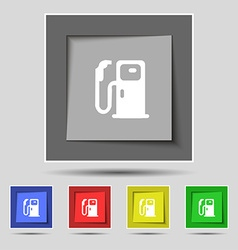 Fuel icon sign on original five colored buttons vector image