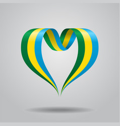 gabon flag heart-shaped ribbon vector image