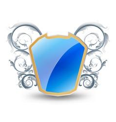 Glossy blue shield vector