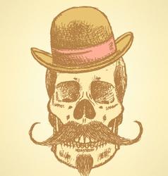 Hat mustache scull vector