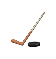 hockey stick and puck sport vector image