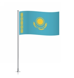 Kazakhstan flag waving on a metallic pole vector