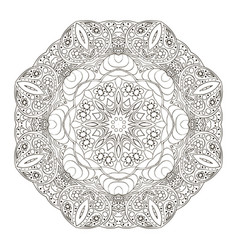 Mandala pattern coloring round ornament for your vector