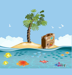 Paradise island with fish and tropical palm vector