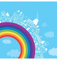 Rainbow town funny background vector image vector image