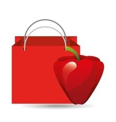 red bag buying harvest pepper vegetable vector image