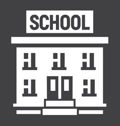 School building solid icon education and learn vector