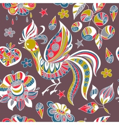 Seamless pattern with colorful birds and flowers vector image