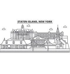 Staten island new york architecture line skyline vector