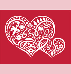 two hearts ornament vector image