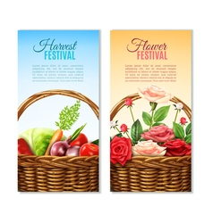 Wicker basket 2 vertical banners set vector