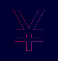 yen sign line icon with gradient from red vector image