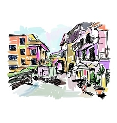 Sketch drawing of italy village landscape black vector