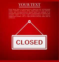 Closed door sign flat icon on red background vector