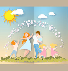 Happy mothers day card paper cut style vector