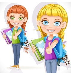 Girl student with a backpack vector