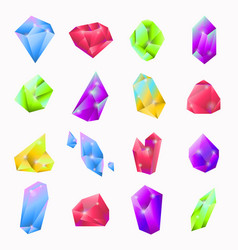Precious stones in various shapes and colors set vector