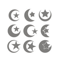 Set of monochrome icons with symbol of islam vector