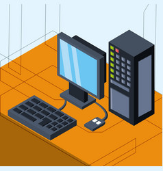 Isometric computer technology with media vector