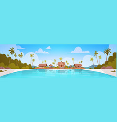 Sea shore beach with villa hotel beautiful seaside vector