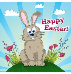 Greeting easter card with bunny vector