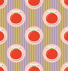Tomato pattern seamless texture with ripe red vector