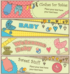 Set of 4 horizontal baby themed banners vector