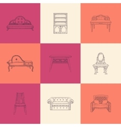 Set of nine furniture vector