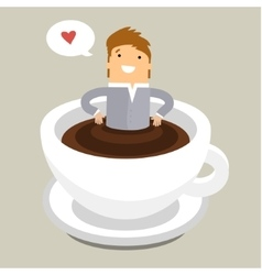 Coffee time man relaxing in coffee cup vector