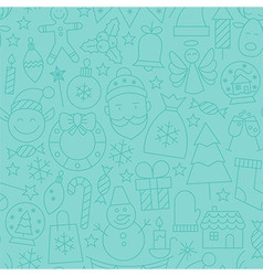 Thin line winter happy new year seamless blue vector