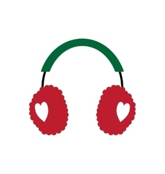 Flat icon with long shadow earmuffs hearts vector