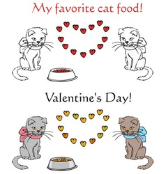 Cat food and valentines day vector