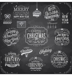 Set of christmas emblems - chalkboard vector