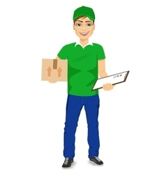 Delivery man carrying mail package vector