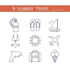 Summer travel icons set vector